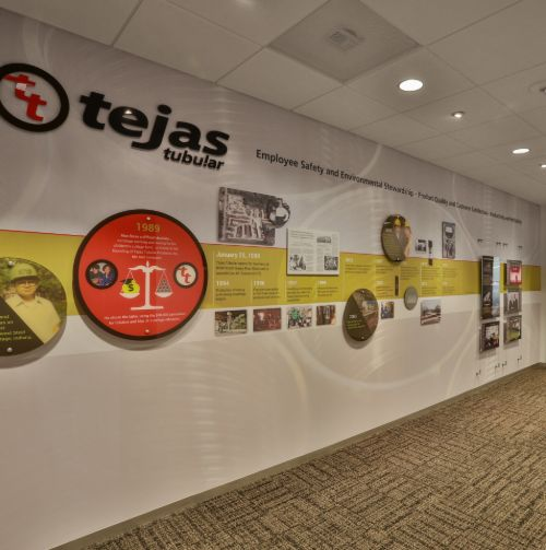 wall mural depicting tejas tubular company timeline